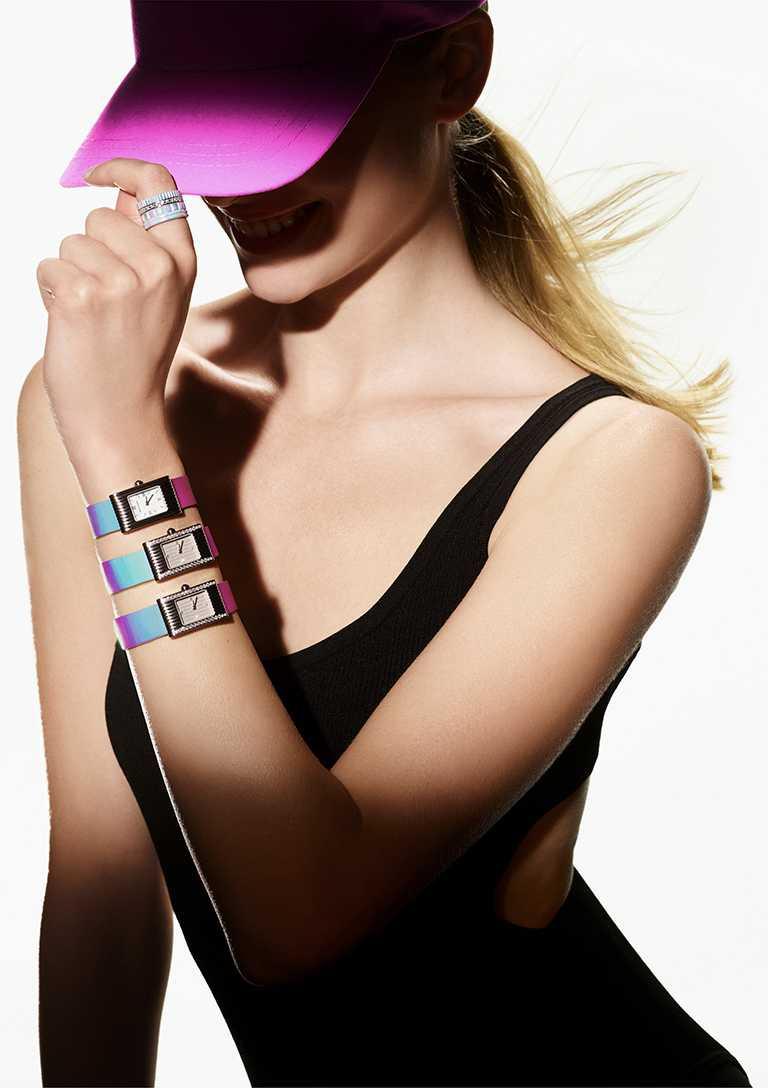 BOUCHERON「Holographique」創新膠囊系列,「Reflet」系列小號腕錶、「Quatre」系列戒指。(圖╱BOUCHERON提供)