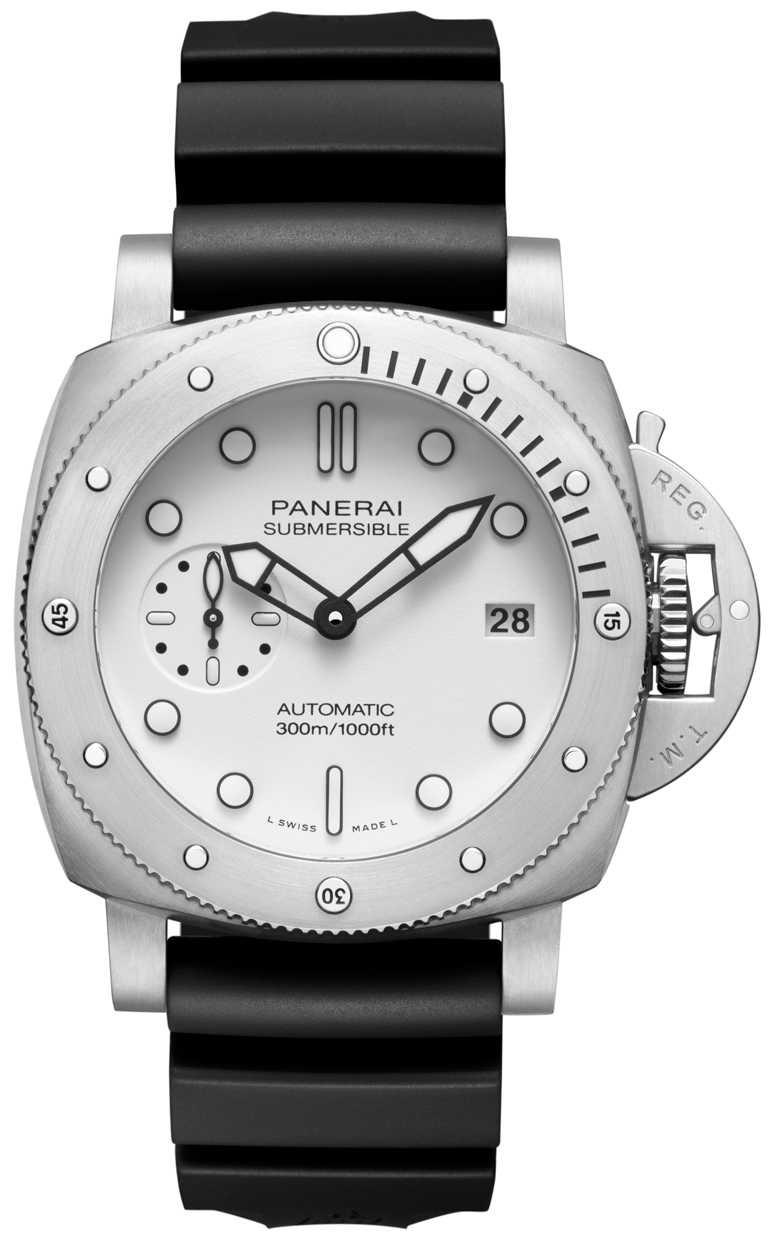 PANERAI「Submersible Bianco」精鋼專業潛水腕錶(#PAM01223),磨砂精鋼錶殼,44mm,P.900型自動上鏈機芯,白色霧面面盤╱274,000元。(圖╱PANERAI提供)