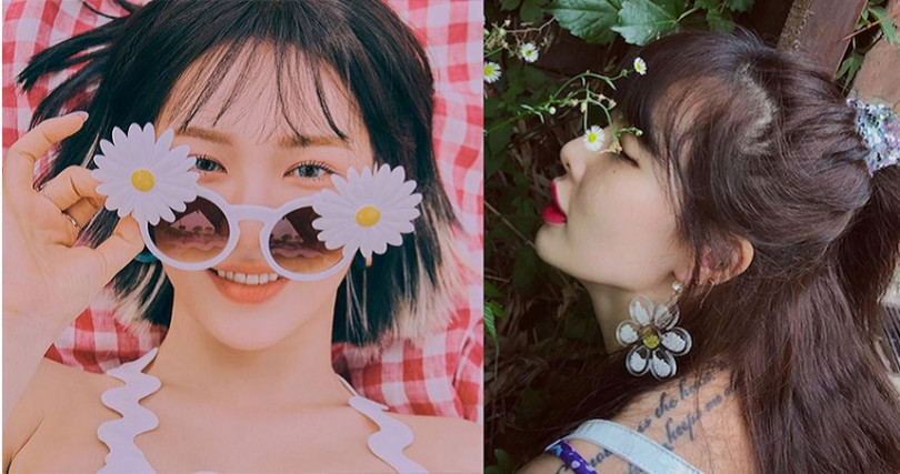 韓國明星Wendy、泫雅都選了小雛菊配件,簡單為日常穿搭加點可愛。(圖/SM Entertainment,hyunah_aa IG)