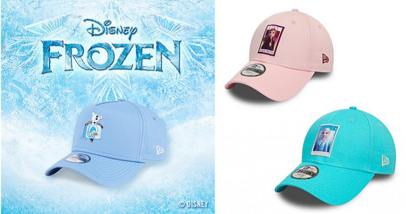 NEW ERA FROZEN 雪寶 天空藍 童帽/NT1,080,FROZEN ELSA TRUE淺藍、粉紅童帽/各NT1,080(NEW ERA網路商城獨家販售)(圖/NEW ERA提供)