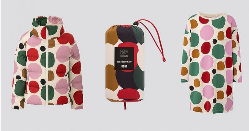 女童輕暖空氣外套/NT1,490(限定店舖販售),女裝特級極輕羽絨連帽外套/NT2,990(限定店舖販售),女童洋裝(長袖)/NT590(圖/UNIQLO提供)