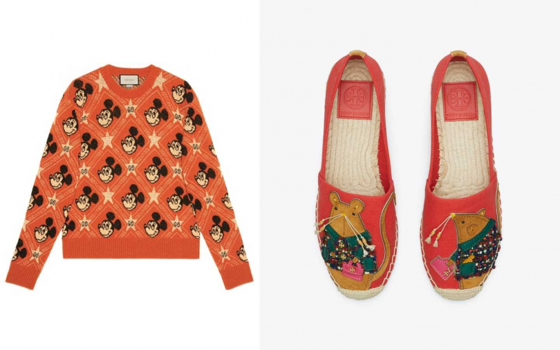 GUCCI米奇楓紅毛衣/46,000元;TORY BRUCH 珊瑚紅Rita鼠草編鞋/11,900元。(圖/品牌提供)