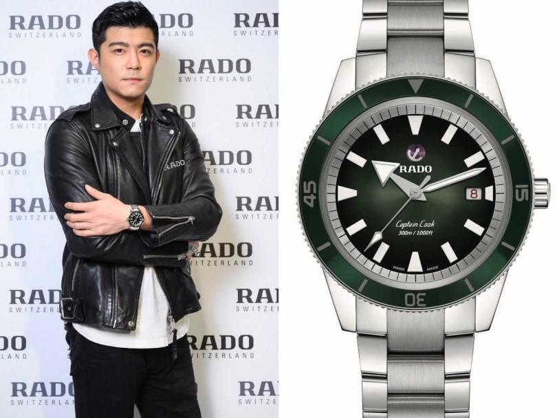 (左)男星王柏傑,為台北遠東百貨信義A13的RADO全新概念店站台,展現多變風格;(右)RADO「Captain Cook庫克船長」300米復刻自動腕錶╱64,900元(圖╱RADO提供)