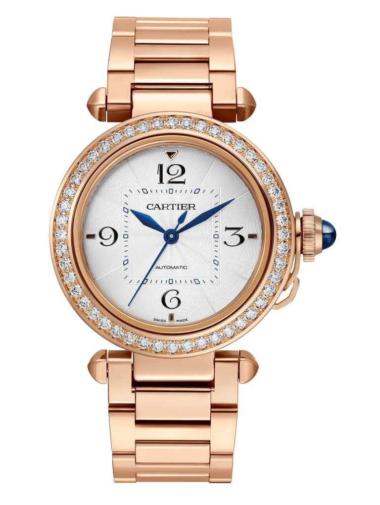 CARTIER「Pasha de Cartier系列」腕錶,18K玫瑰金錶殼,錶徑35mm,鑽石48顆╱1,190,000元。(圖╱CARTIER提供)