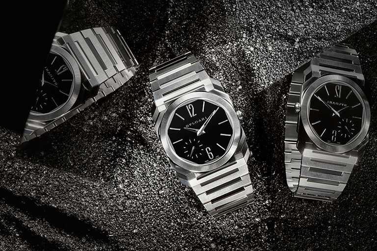 BVLGARI「Octo Finissimo Automatic」超薄自動腕錶,超薄緞面拋光精鋼錶殼,錶徑40mm╱375,900元。(圖╱BVLGARI提供)