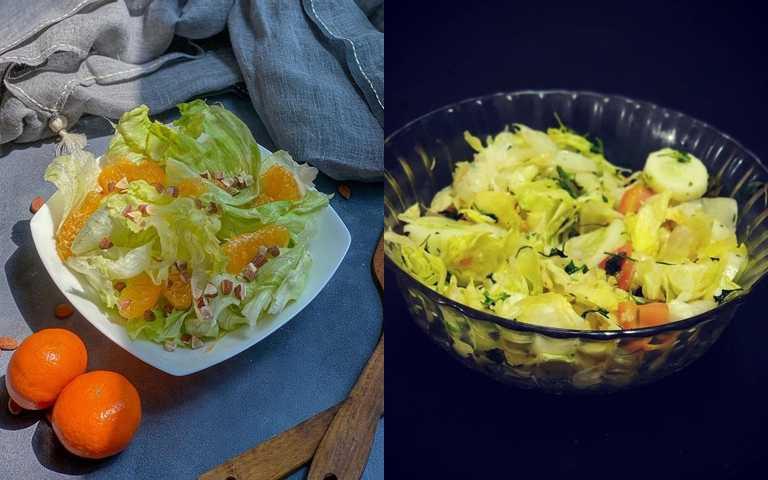 滿滿一碗的生菜沙拉看似很多,但真正換算成下水後的份量就要扣去1/2。(圖/IG@travelstories_me、IG@theportablepantry6)