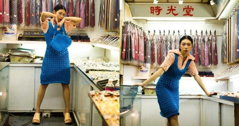 BOTTEGA VENETA 粗針織拼接短袖洋裝/90,100元、藍色粗針織可拆式手提袋/90,300元、羊皮厚底跟鞋/31,700元(圖/戴世平攝)