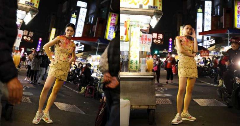 VALENTINO 漸層花朵蕾絲洋裝/價格未定;Chloé Sonnie 白底紅邊低筒老爹鞋/20,900元(圖/戴世平攝)