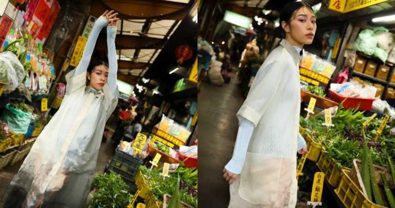 FENDI 白色透明硬紗裙裝/109,000元、淺藍色蕾絲上衣/19,800元(圖/戴世平攝)