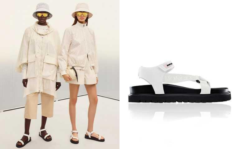 透過帶來涼感的白,讓人彷彿暫時脫離日常,來到沁涼海岸邊。MONCLER Flavia涼鞋/16,100元。(圖/品牌提供)