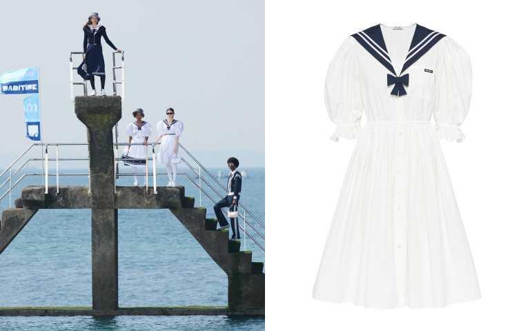 置身在法國聖馬洛Plage de Bon-Secours浴場的混凝土壁壘,Miu Miu女水手們的清新、鮮明與童趣更為搶眼。Miu Miu 水手風公主袖洋裝/76,000元(圖/品牌提供)
