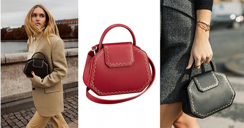 GUIRLANDE DE CARTIER迷你款手提包 紅、黑兩款/參考價格NT62,500 (另有多色可挑選)。(圖/Cartier提供)