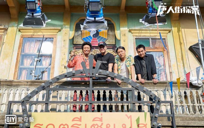 網劇原班人馬王寶強(左起)、總監制陳思誠、肖央、邱澤回歸。(圖/愛奇藝台灣站提供)