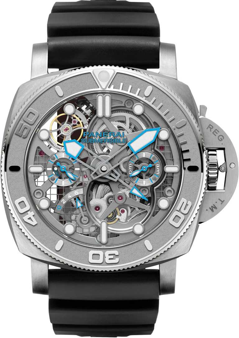 PANERAI「SUBMERSIBLE ECOPANGAEA」陀飛輪兩地時間腕錶MIKE HORN版,精鋼錶殼,錶徑50mm╱6,000,000元。(圖╱PANERAI提供)