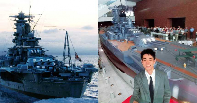 大和艦由日本帝國海軍建造,但僅服役4年就遭美軍擊沉,菅田將暉為了解船艦,特地參觀模型並與其合影。(圖/車庫娛樂、IMDB提供)