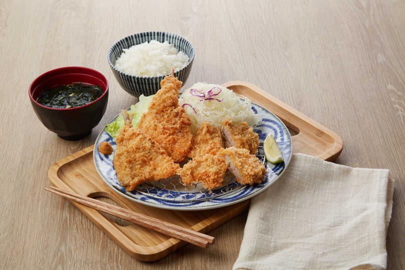 「雙魚腰內豬排」營養細緻的魚肉與香酥多汁的豬排,能補足夏天流失的體力。(圖片提供/銀座杏子日式豬排)