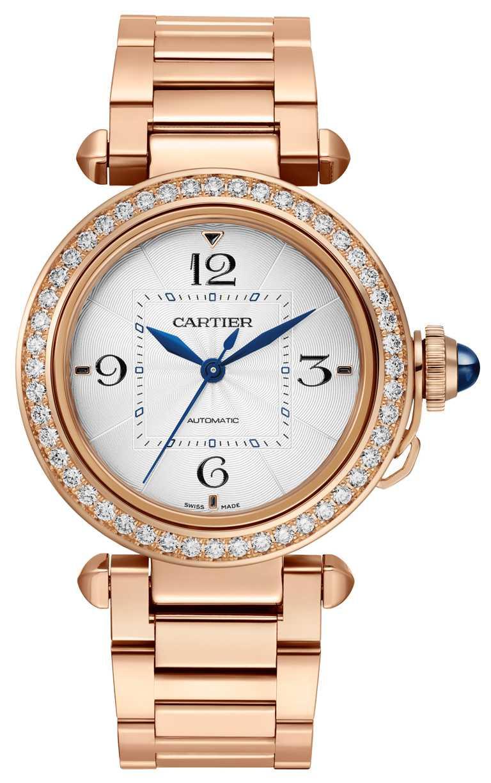 CARTIER「Pasha de Cartier」系列玫瑰金腕錶,玫瑰K金錶殼,35mm,鑽石48顆╱1,190,000元。(圖╱CARTIER提供)