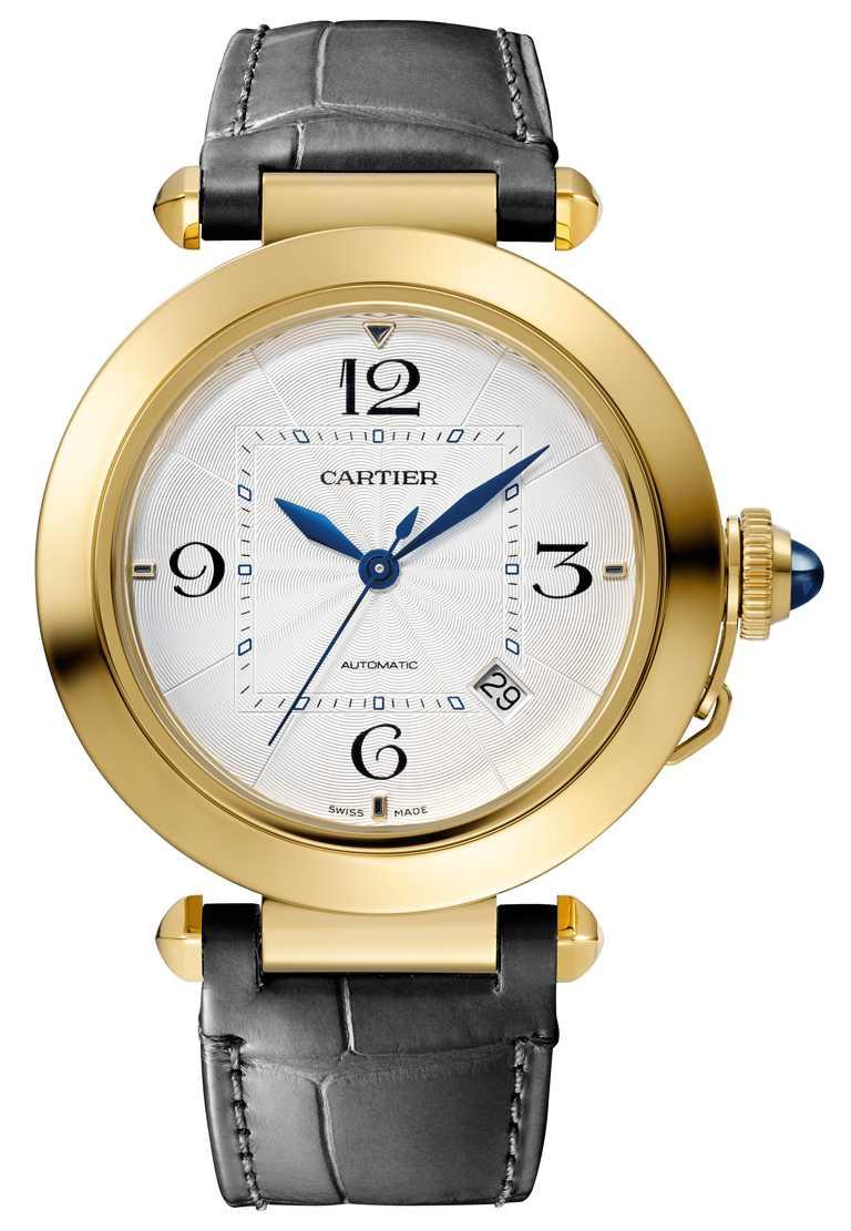 CARTIER「Pasha de Cartier」系列黃K金腕錶,黃K金錶殼,41mm,1847 MC型自動上鍊機械機芯╱515,000元。(圖╱CARTIER提供)