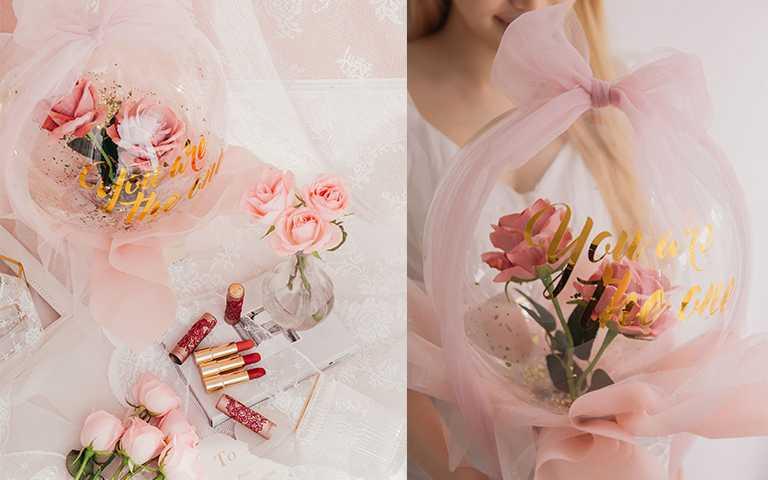 2月6日開賣當日,於全台蘭蔻專櫃推出買2支唇膏即限量贈送的蕾絲告白氣球。(圖/LANCOME提供)
