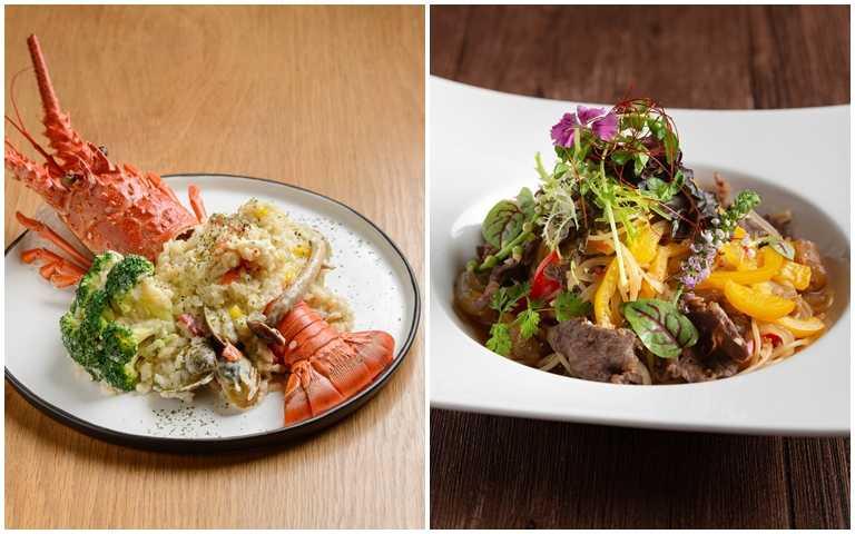 一福串燒酒場(圖左)推出宏都拉斯龍油蛤蠣奶油燉飯與醉貓推出的辣炒巴拉圭牛筋時令義大利麵。