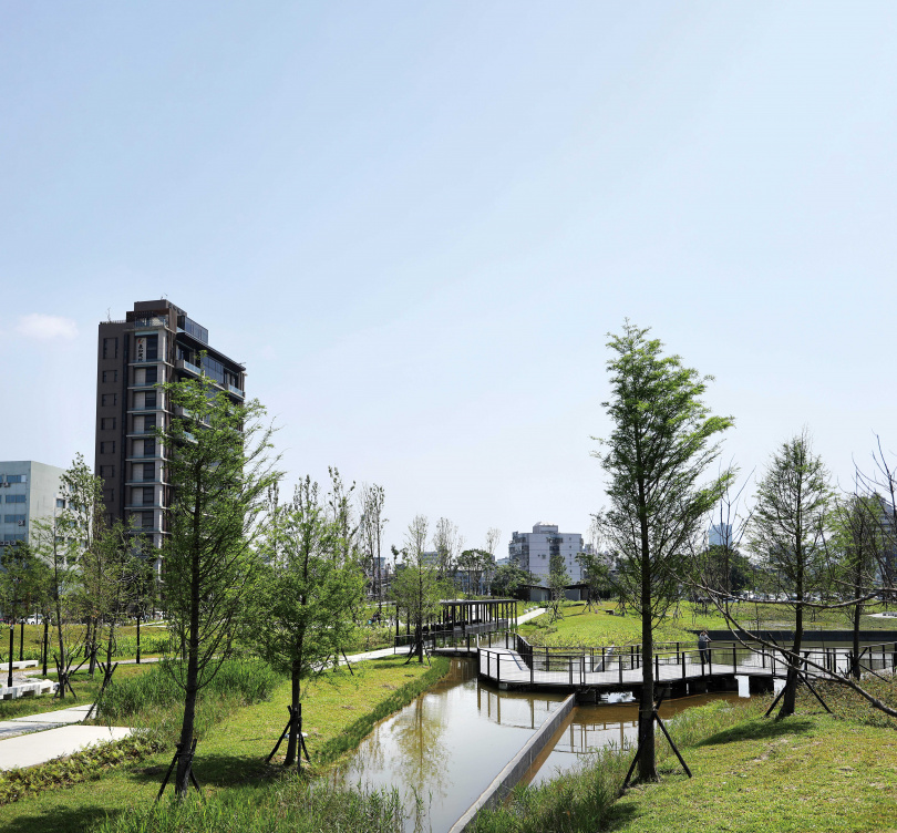 「新新公園」的溼地水池,有滯洪及減少都市熱島效應等功能。(圖/于魯光攝)