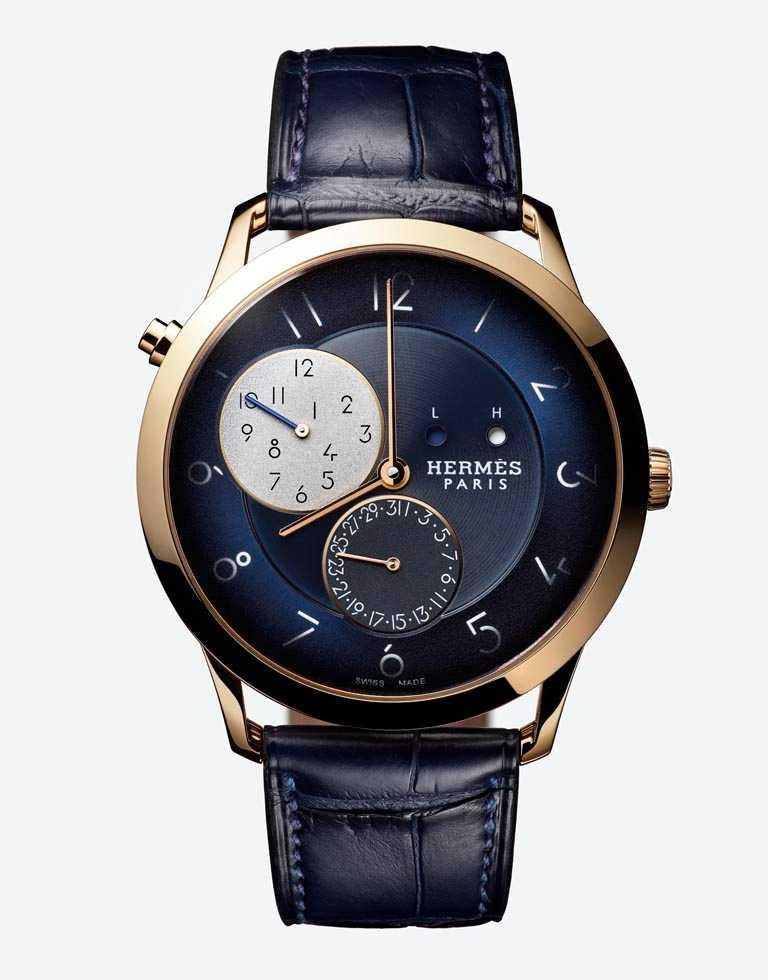 HERMÈS「Slim d'Hermès GMT兩地時間腕錶」,換上限量鈀金錶殼,錶徑39mm╱663,500元。(圖╱HERMÈS提供)