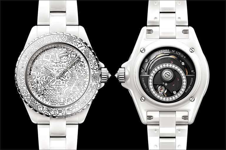 CHANEL「J12∙20」琺瑯腕錶,白色抗磨精密陶瓷、18K白金錶殼,錶徑38mm,限量5只,鑽石55顆╱價格店洽。(圖╱CHANEL提供)