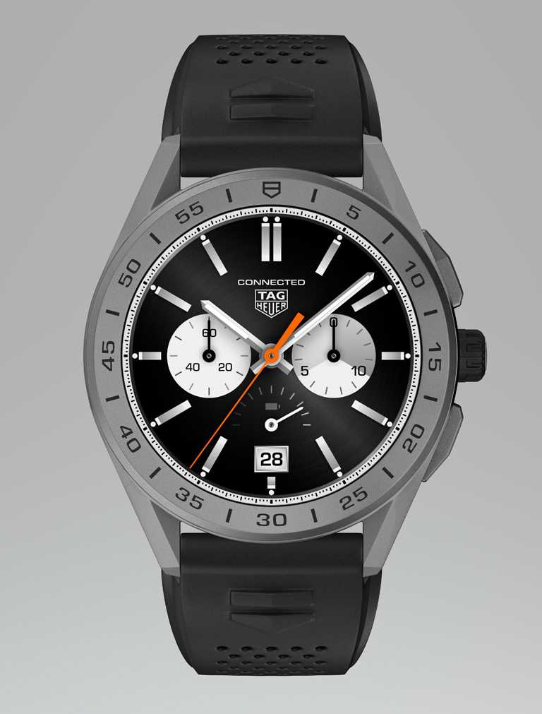 TAG HEUER「CONNECTED智能腕錶」夏季系列╱鈦金屬噴砂錶殼,黑色橡膠錶帶,陶瓷錶圈,45mm╱70,700元。(圖╱TAG HEUER提供)
