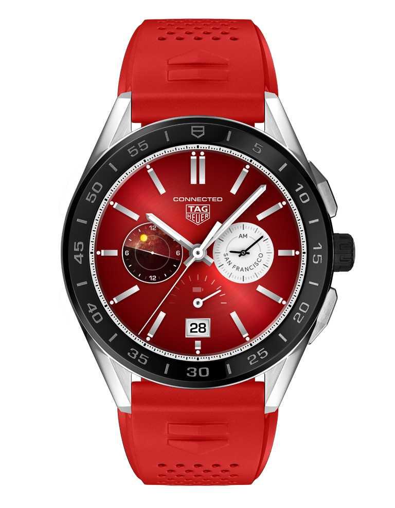 TAG HEUER「CONNECTED智能腕錶」夏季系列╱全新「Helios」錶盤,櫻桃紅色。(圖╱TAG HEUER提供)