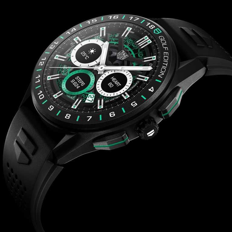TAG HEUER「CONNECTED智能腕錶」高爾夫球特別版╱黑色橡膠錶帶,黑色DLC鈦金屬錶殼,45mm╱84,100元。(圖╱TAG HEUER提供)