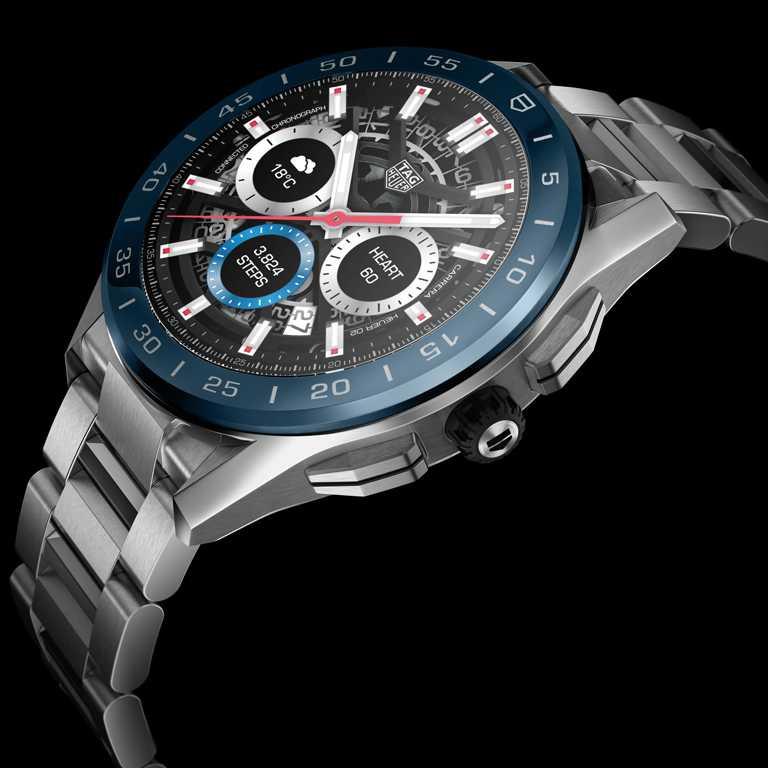 TAG HEUER「CONNECTED智能腕錶」夏季系列╱精鋼錶殼,精鋼錶帶,海洋深藍色陶瓷錶圈,45mm╱65,600元。(圖╱TAG HEUER提供)