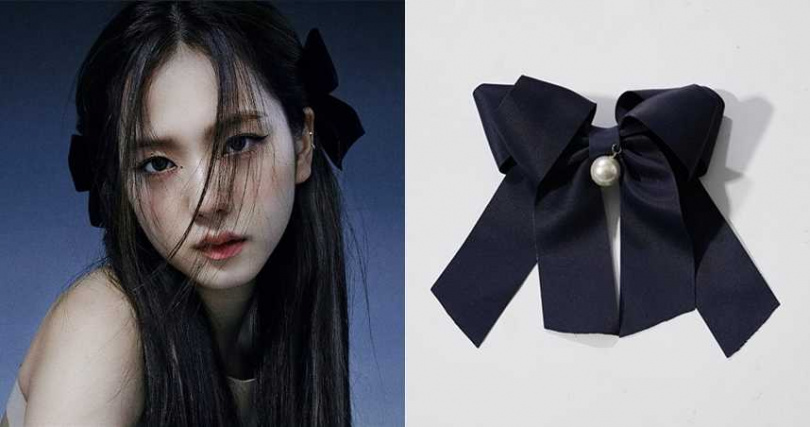 Ruby's Collection緞面大蝴蝶結彈簧髮夾/410元(圖/翻攝網路、翻攝Jisoo IG)