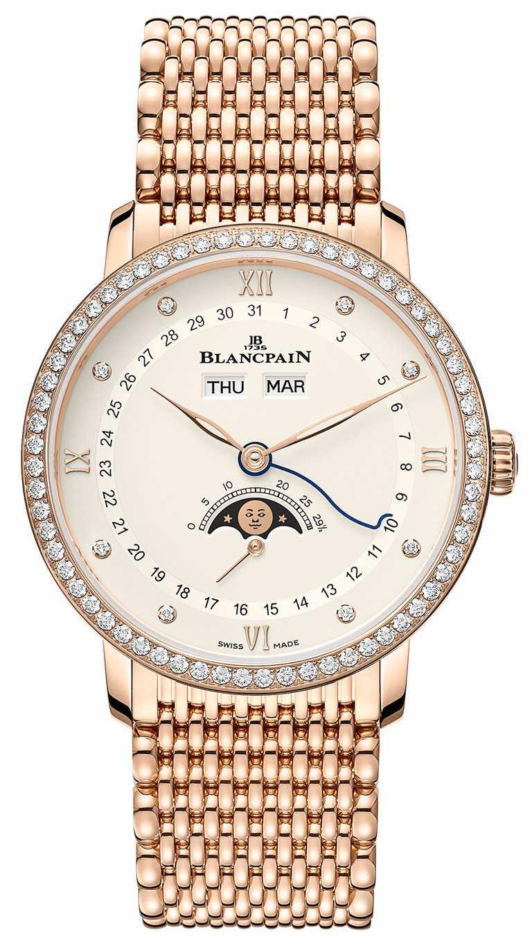 BLANCPAIN「Villeret系列Quantième Complet」全日曆月相腕錶,18K紅金錶殼,米蘭鍊帶錶帶,38mm,鑽石0.91克拉╱1,434,000元。(圖╱BLANCPAIN提供)