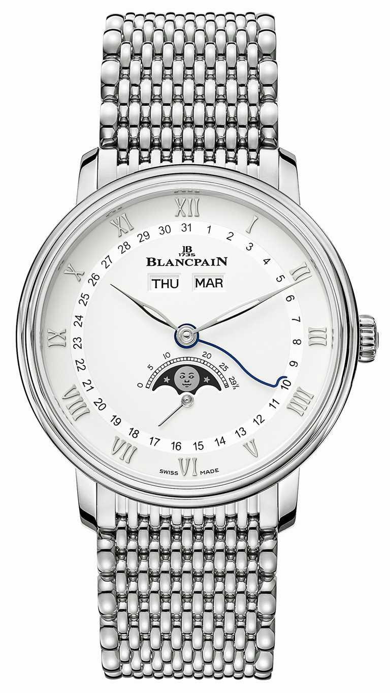 BLANCPAIN「Villeret系列Quantième Complet」全日曆月相腕錶,不鏽鋼錶殼,鱷魚皮錶帶,38mm╱421,000元。(圖╱BLANCPAIN提供)