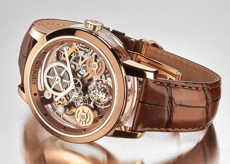 CORUM「LAB 02系列」飛行陀飛輪限量腕錶,5級18K玫瑰金錶殼,45mm,限量10只╱6,360,000元。(圖╱CORUM提供)