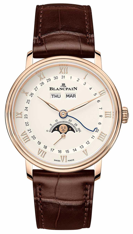 BLANCPAIN「Villeret系列Quantième Complet」全日曆月相腕錶,18K紅金錶殼,鱷魚皮錶帶,38mm╱702,000元。(圖╱BLANCPAIN提供)