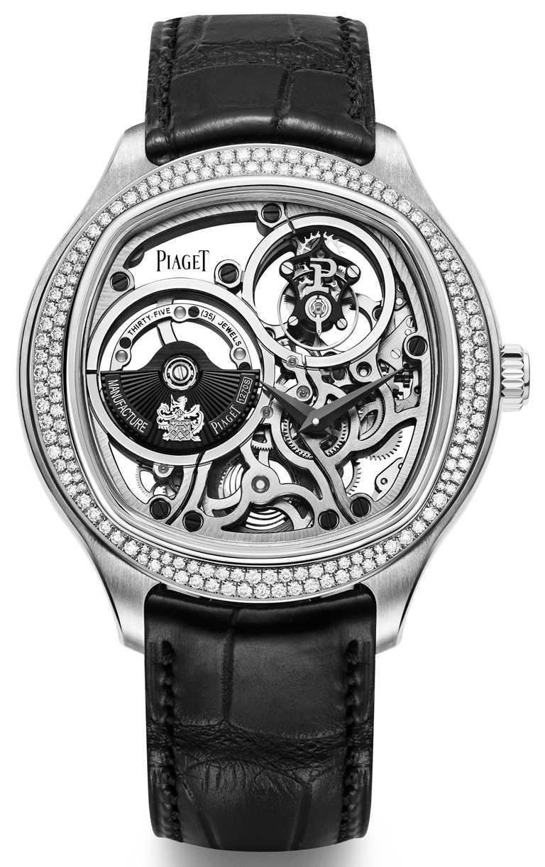 PIAGET「Polo Emperador」系列鑲鑽腕錶,18K白金錶殼,1270S型自動上鏈鏤空超薄飛行陀飛輪機芯,46.5mm,限量20只╱7,150,000元。(圖╱PIAGET提供)