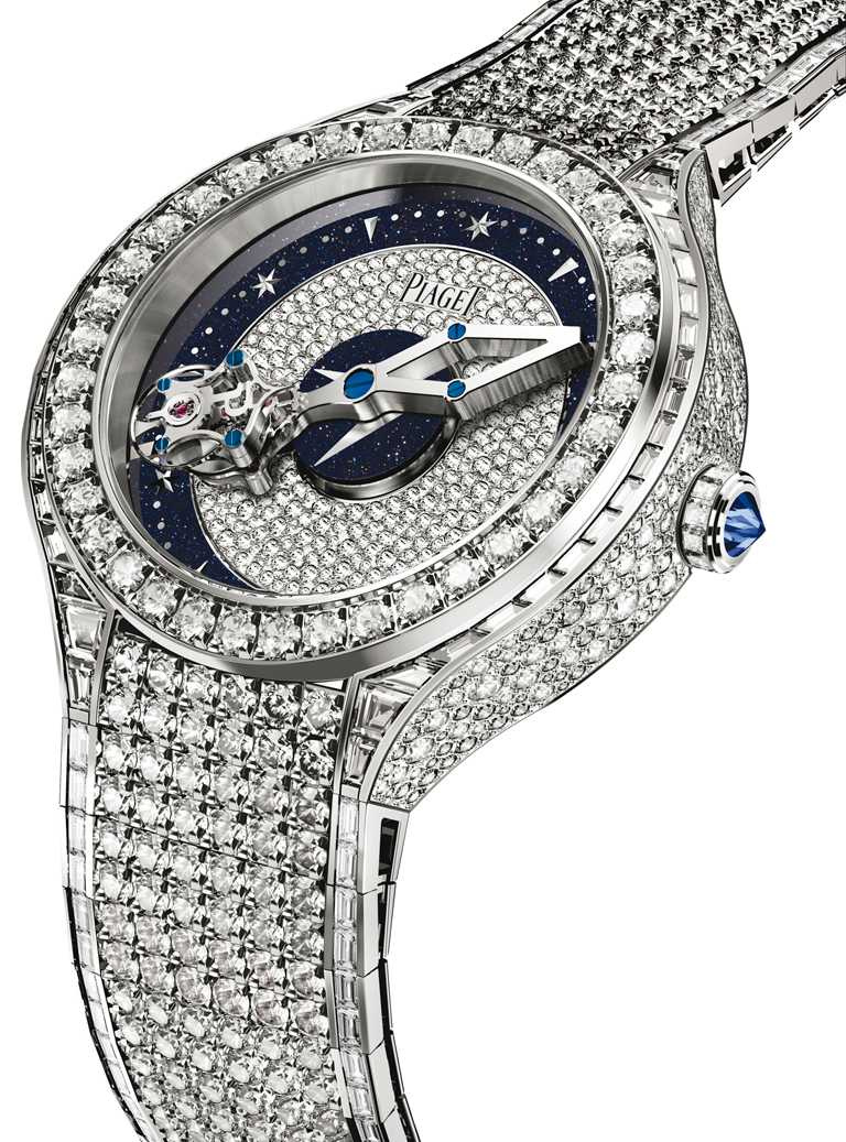 PIAGET「Polo」系列頂級珠寶腕錶,18K白金錶殼,608P型手動上鏈相對陀飛輪機芯,49mm╱42,300,000元。(圖╱PIAGET提供)