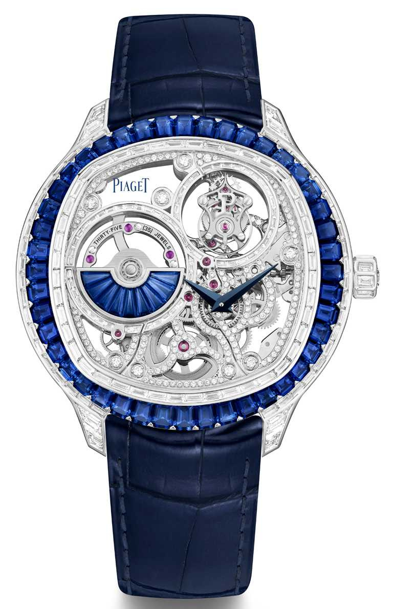 PIAGET「Polo Emperador」系列藍寶石鑽石腕錶,18K白金錶殼,1270D型自動上鏈鏤空飛行陀飛輪超薄機芯,49mm╱31,100,000元。(圖╱PIAGET提供)