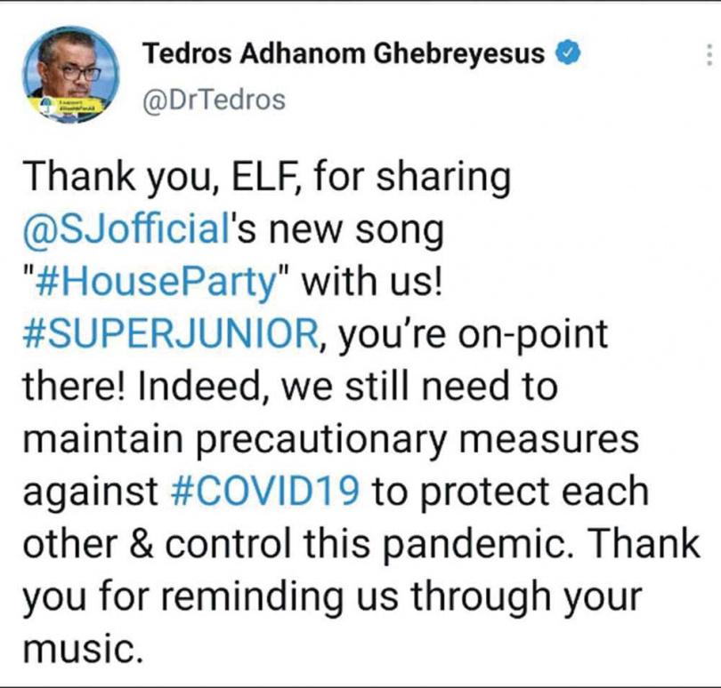 譚德賽在推特發文,感謝SJ以歌曲提醒大家防疫的重要。(圖/翻攝自推特)