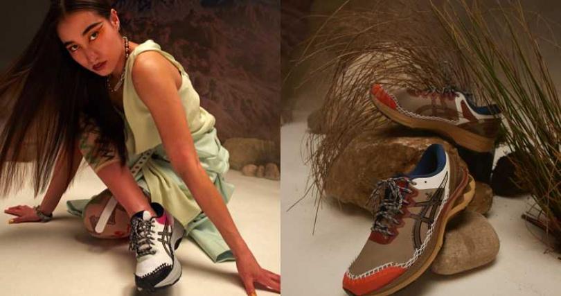 在精巧的鞋款內,蘊藏了經典的亞瑟膠 GEL 技術與中底緩震技術。ASICS X Vivienne Westwood GEL-KAYANO 27 DE/7,280元(圖/品牌提供)