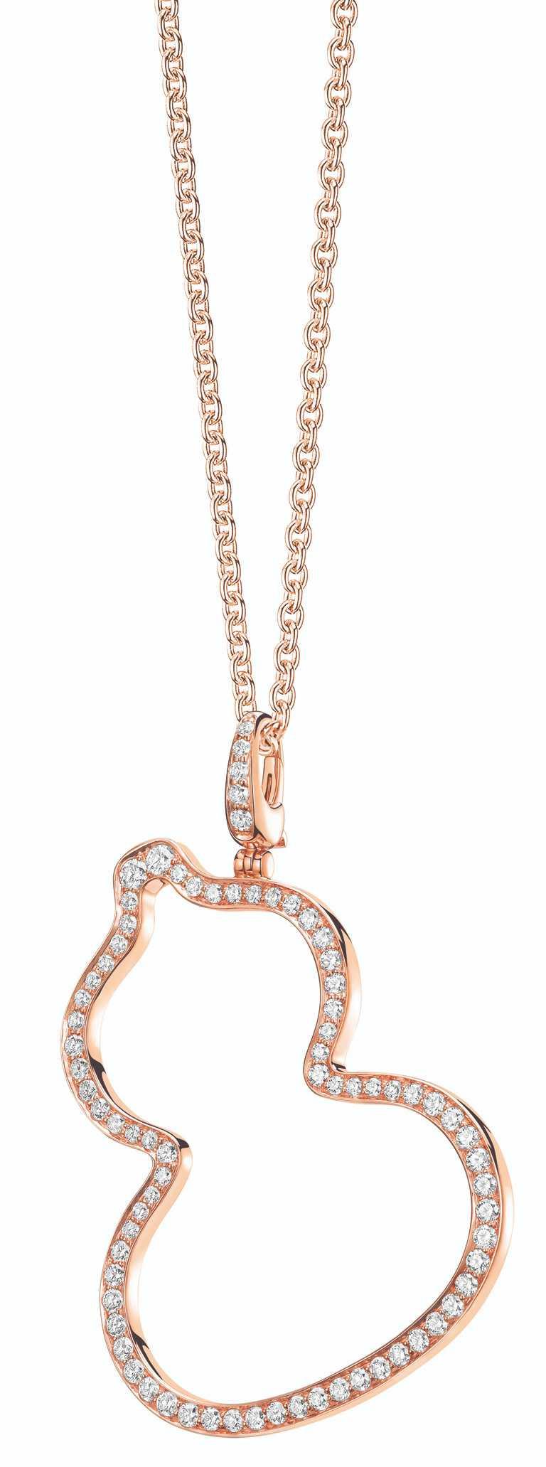 Qeelin「Wulu」系列18K玫瑰金鑲鑽中型吊墜╱263,000元。(圖╱Qeelin提供)