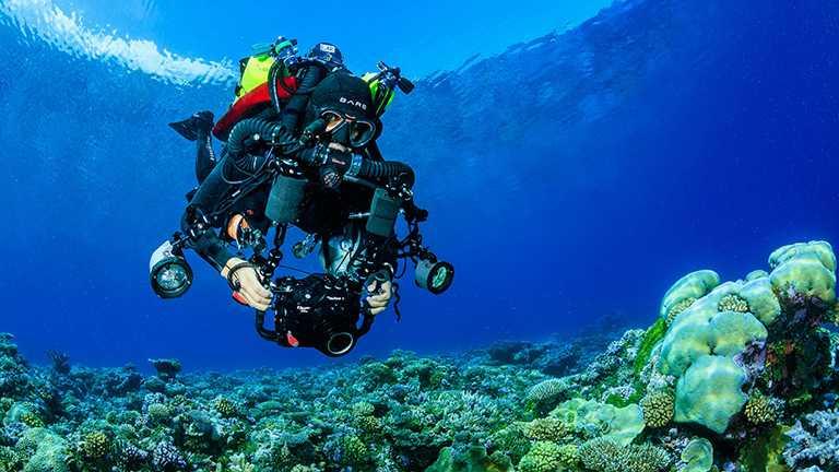 路易茲.羅查致力於探索與保護印度洋的中光層珊瑚礁及其生物多樣性,令這些鮮為人知的生態系統得到關注及妥善保護。(圖╱ROLEX提供)
