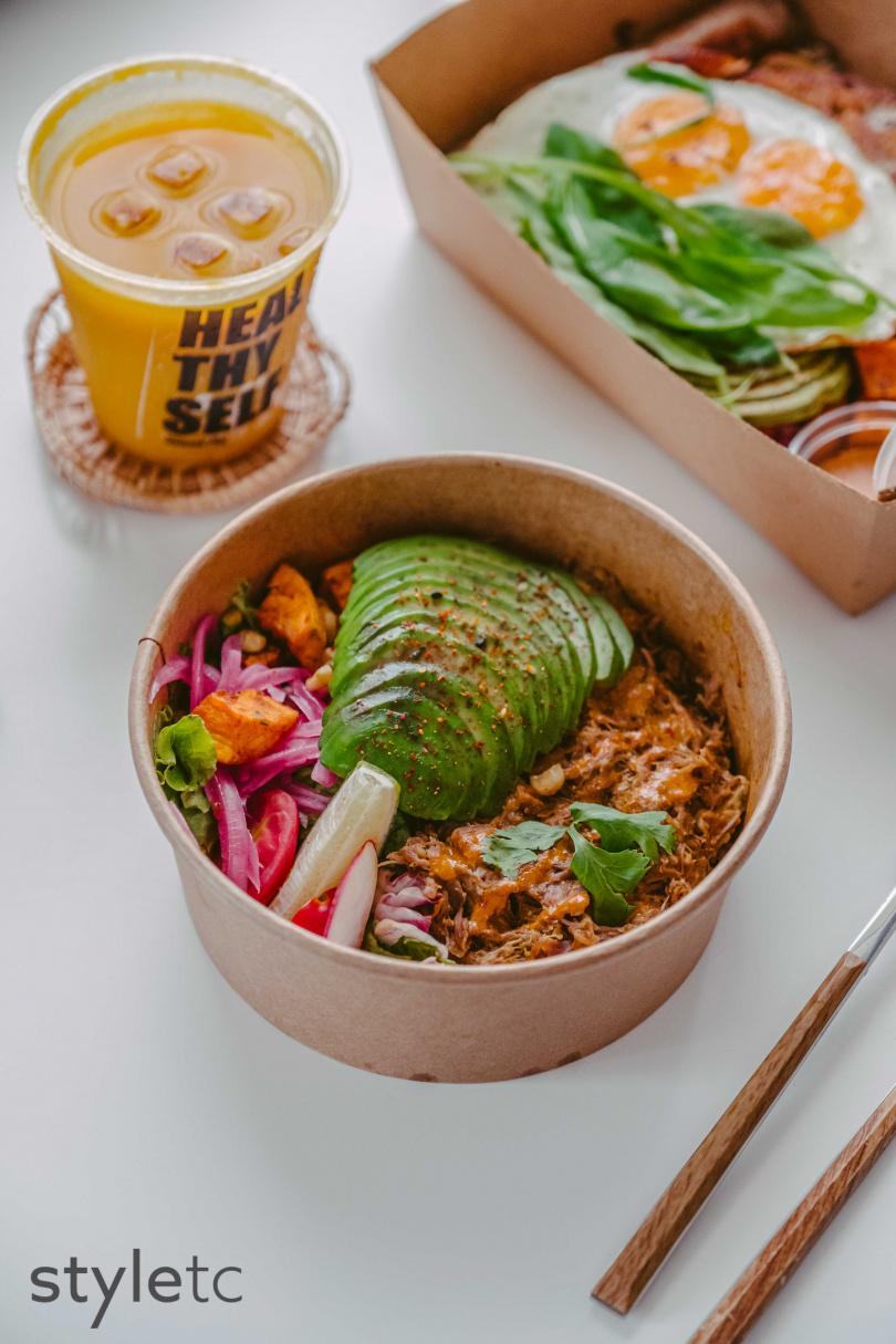 時蔬蔬菜、蛋白質均衡打點的「墨西哥香燉豬頰肉碗」。(350元)(圖/品牌提供)