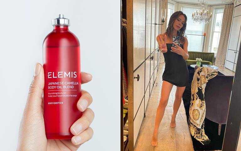 ELEMIS日本山茶花身體潤膚油 100ml/1,850元 貝嫂說她在懷孕期間靠的都是這瓶!她會把它均勻塗抹全身,然後加強按摩腹部、足部、雙腿和胸部,是少數孕婦也能安全使用的香氛產品。(圖/品牌提供、翻攝網路)