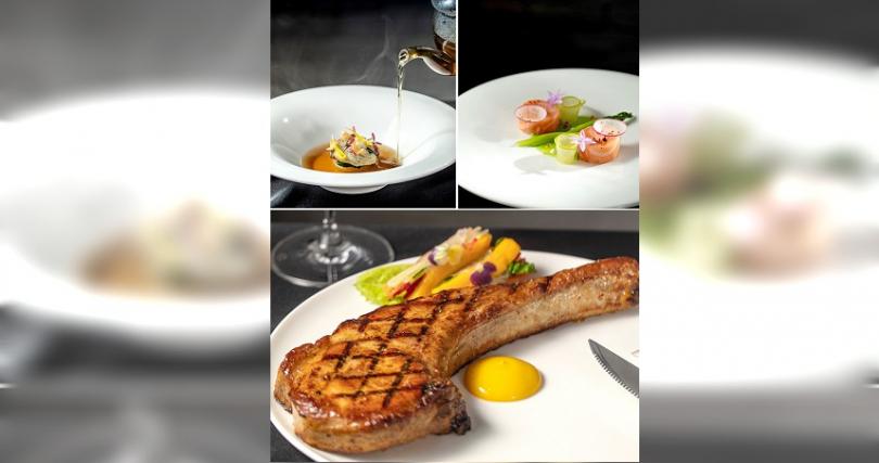 「Monsieur L」台北米其林月特餐:「雞肉澄清湯 +南非鮑魚 +日本大根」、「鮭魚 +蘆筍 +青蘋果」、「戰斧豬排 +蔬菜春捲 +芒果醬汁」。(圖/主辦提供)