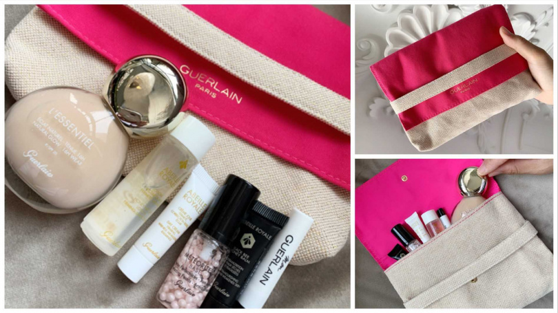 嬌蘭亮顏裸光純萃美肌組/2,350元(價值4,494元)  附贈的桃紅色粉漾化妝包,不只配色很有春天氣息,連質感也很高級。(圖/吳雅鈴攝影)