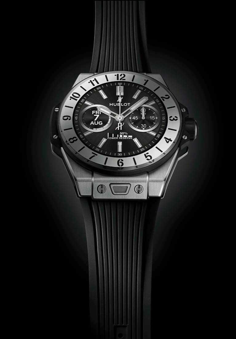 HUBLOT「BIG BANG e智能腕錶」鈦金屬款,緞面拋光鈦金屬錶殼,42mm╱161,000元。(圖╱HUBLOT提供)