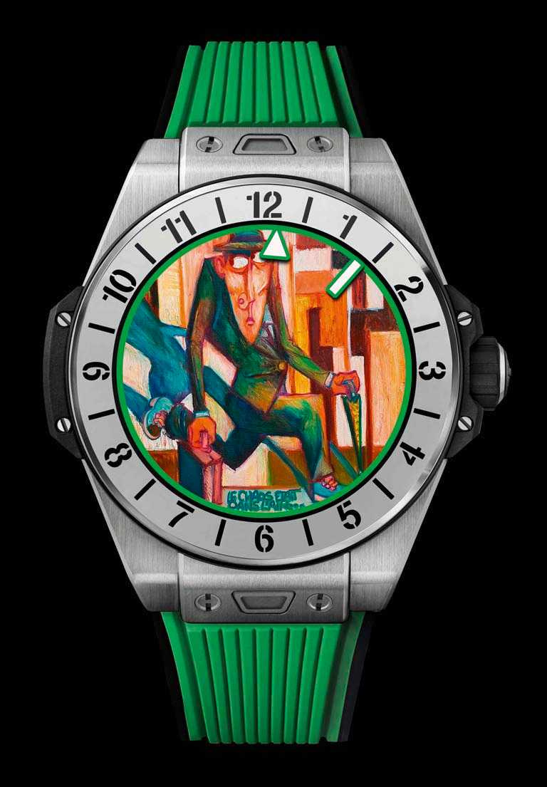 HUBLOT「BIG BANG e智能腕錶」鈦金屬款(自然綠),緞面拋光鈦金屬錶殼,42mm╱161,000元。(圖╱HUBLOT提供)