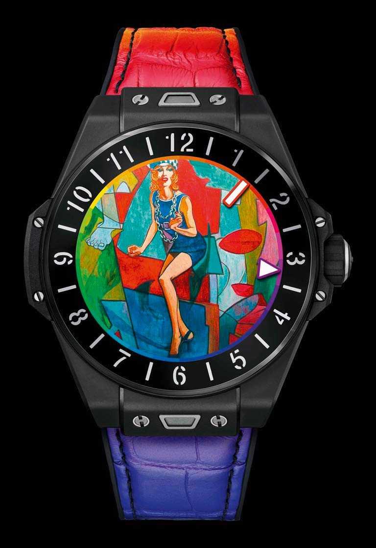 HUBLOT「BIG BANG e智能腕錶」黑色陶瓷款(彩虹),微噴砂拋光黑色陶瓷錶殼,42mm╱180,000元。(圖╱HUBLOT提供)